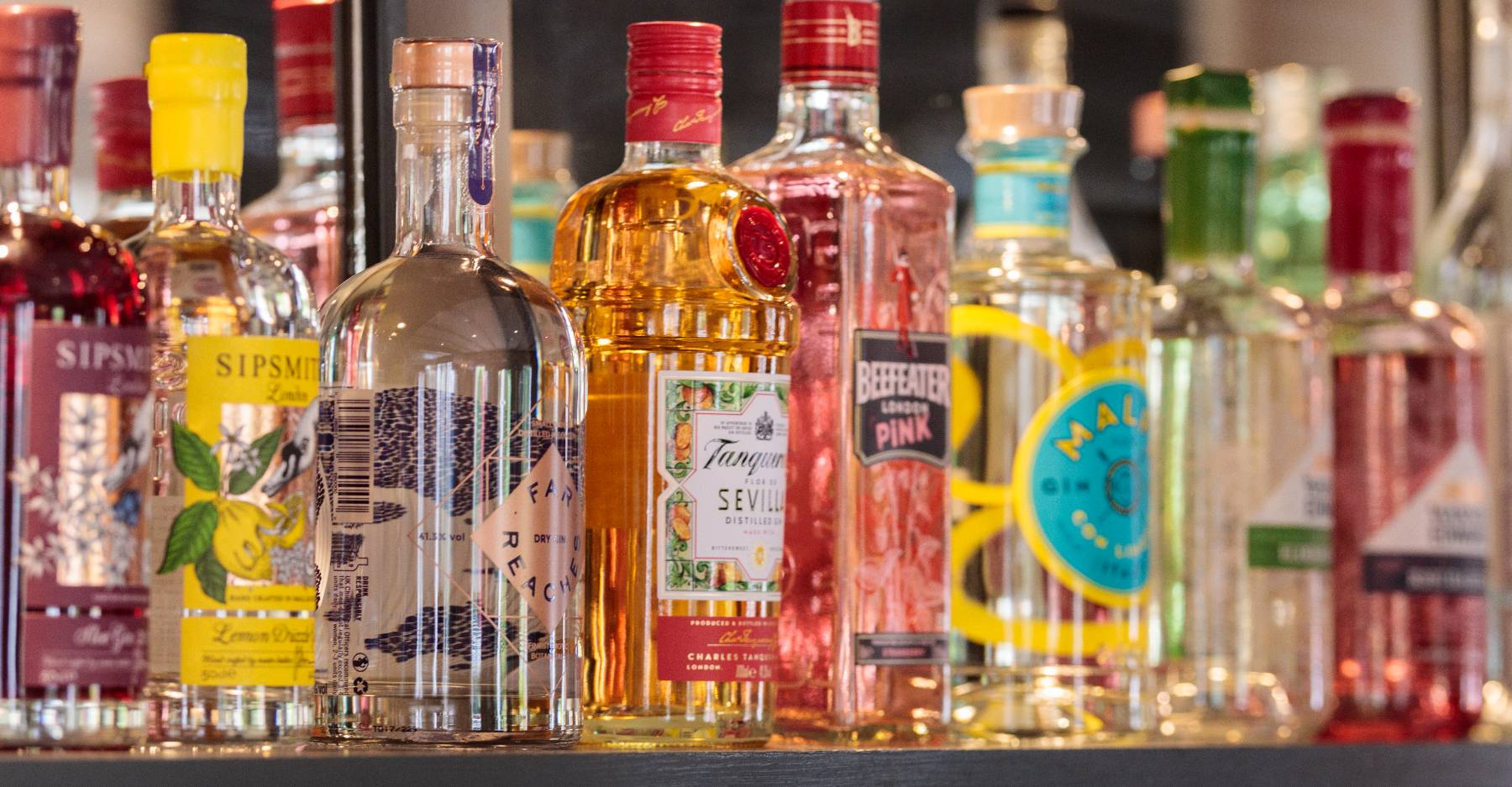 Spirits including a range of gins